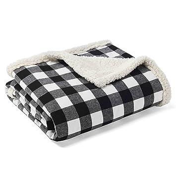 Black And White Plaid Blanket.Eddie Bauer Throw Cabin Plaid Black