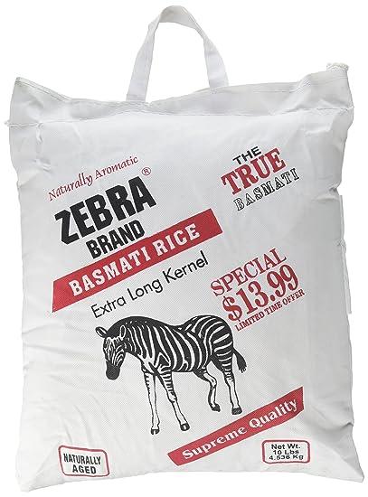 Natural de Zebra Bolsa De 10 Lb Arroz Basmati Kernel extra ...