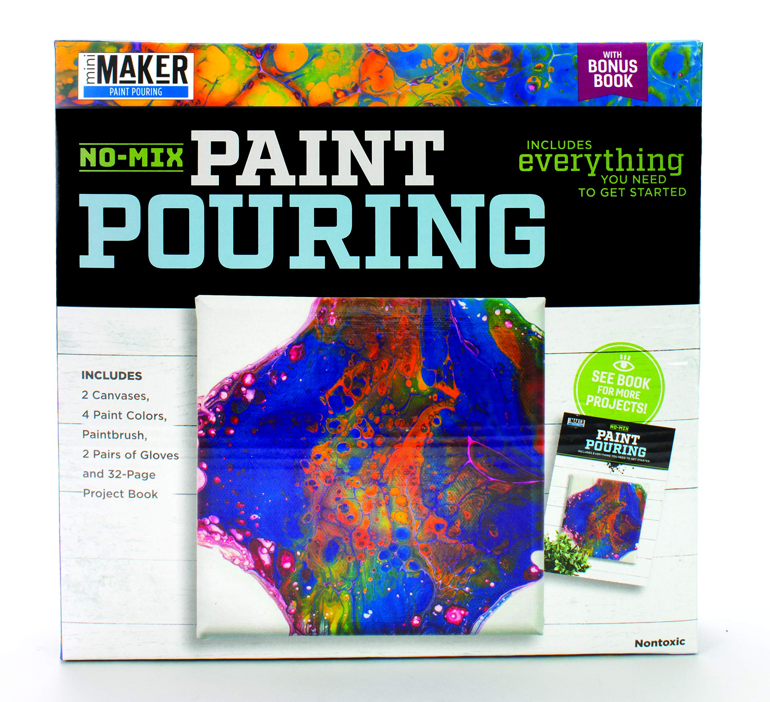 no mix painting pouring book plus kit includes 2 canvases 4 paint colors paintbrush 2 pairs of gloves and 32 page project book