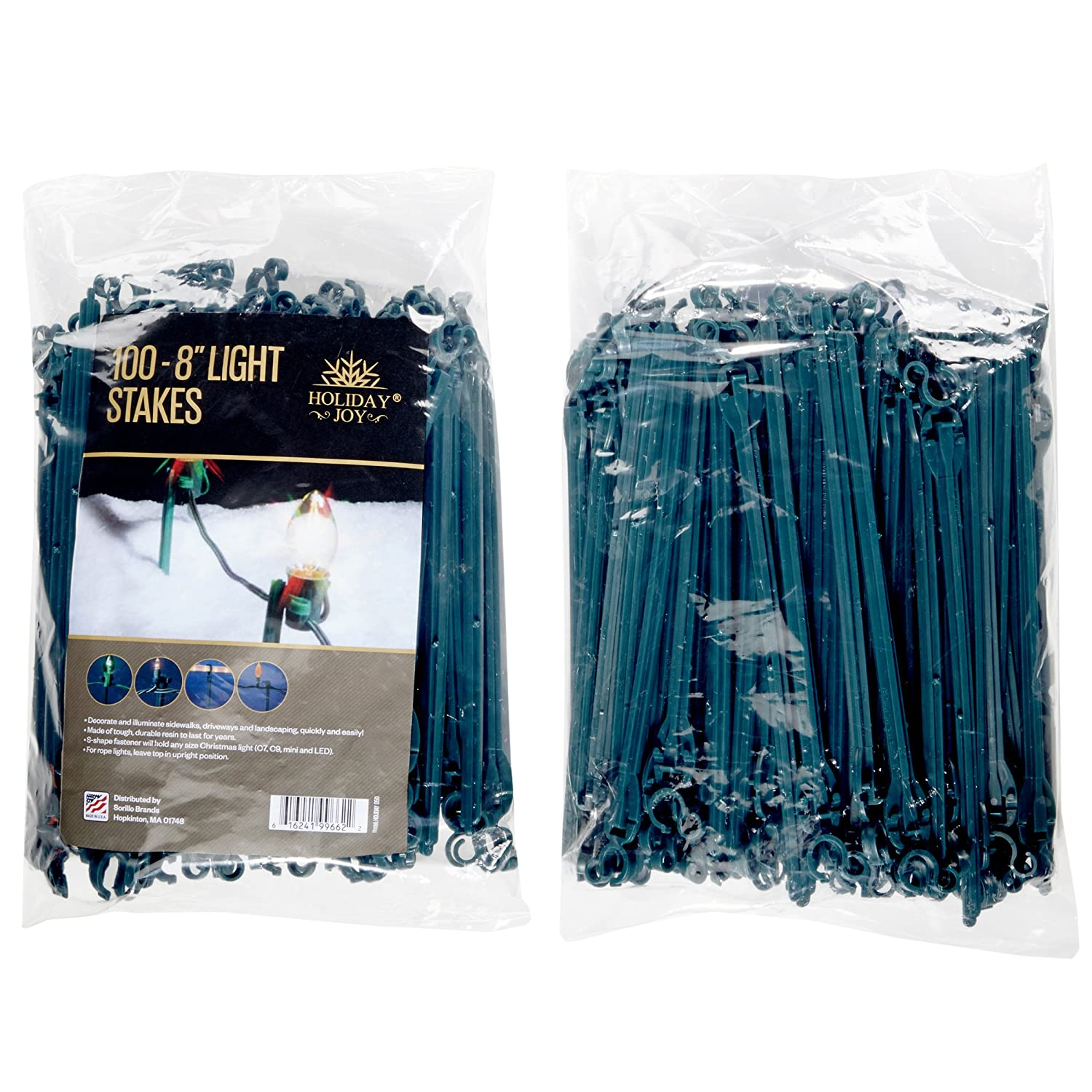 """Amazon Holiday Joy 100 Light Stakes 8"""" High Ideal for"""