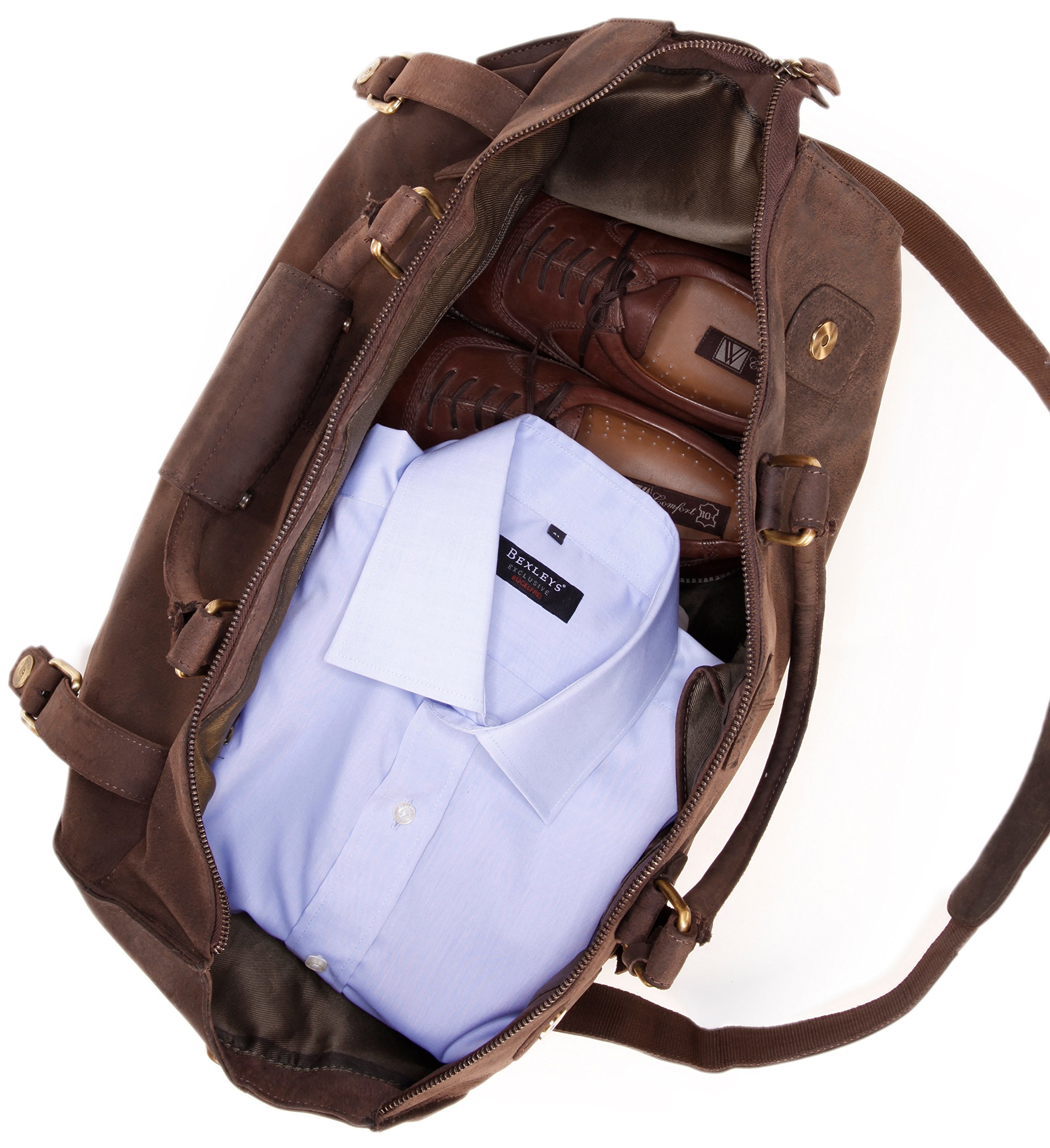 LEABAGS Durham genuine buffalo leather duffle bag in vintage style - Nutmeg by LEABAGS (Image #8)