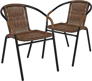 Flash Furniture 2 Pack Medium Brown Rattan Indoor-Outdoor Restaurant Stack Chair
