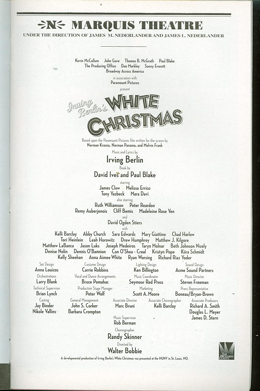 Irving Berlin\'s White Christmas, Broadway Playbill + James Clow ...