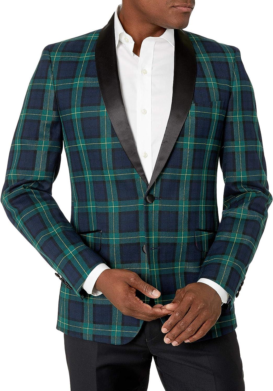 Billy London Men's Slim fit Evening Jacket, Green/Blue Plaid, 44L