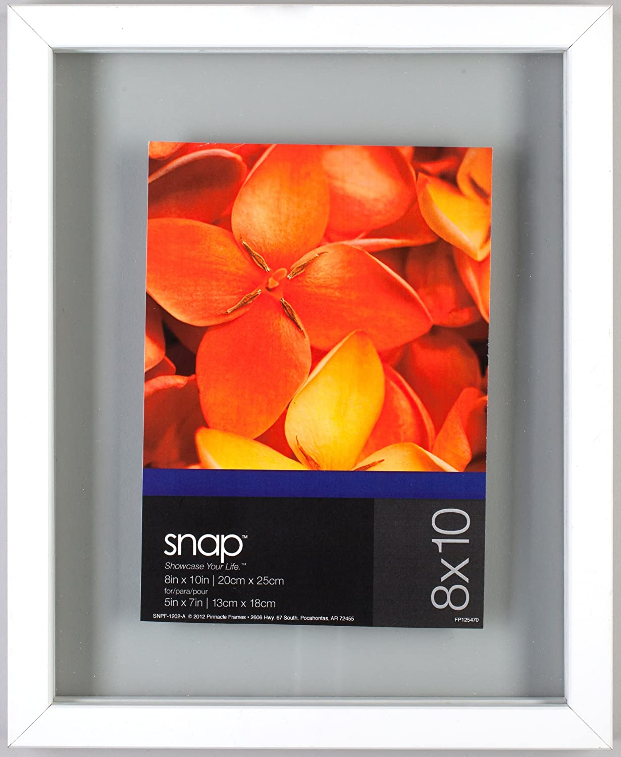 Snap Floating Wall Frame, 8 by 8-Inch, White Pinnacle Frames 13FW1306