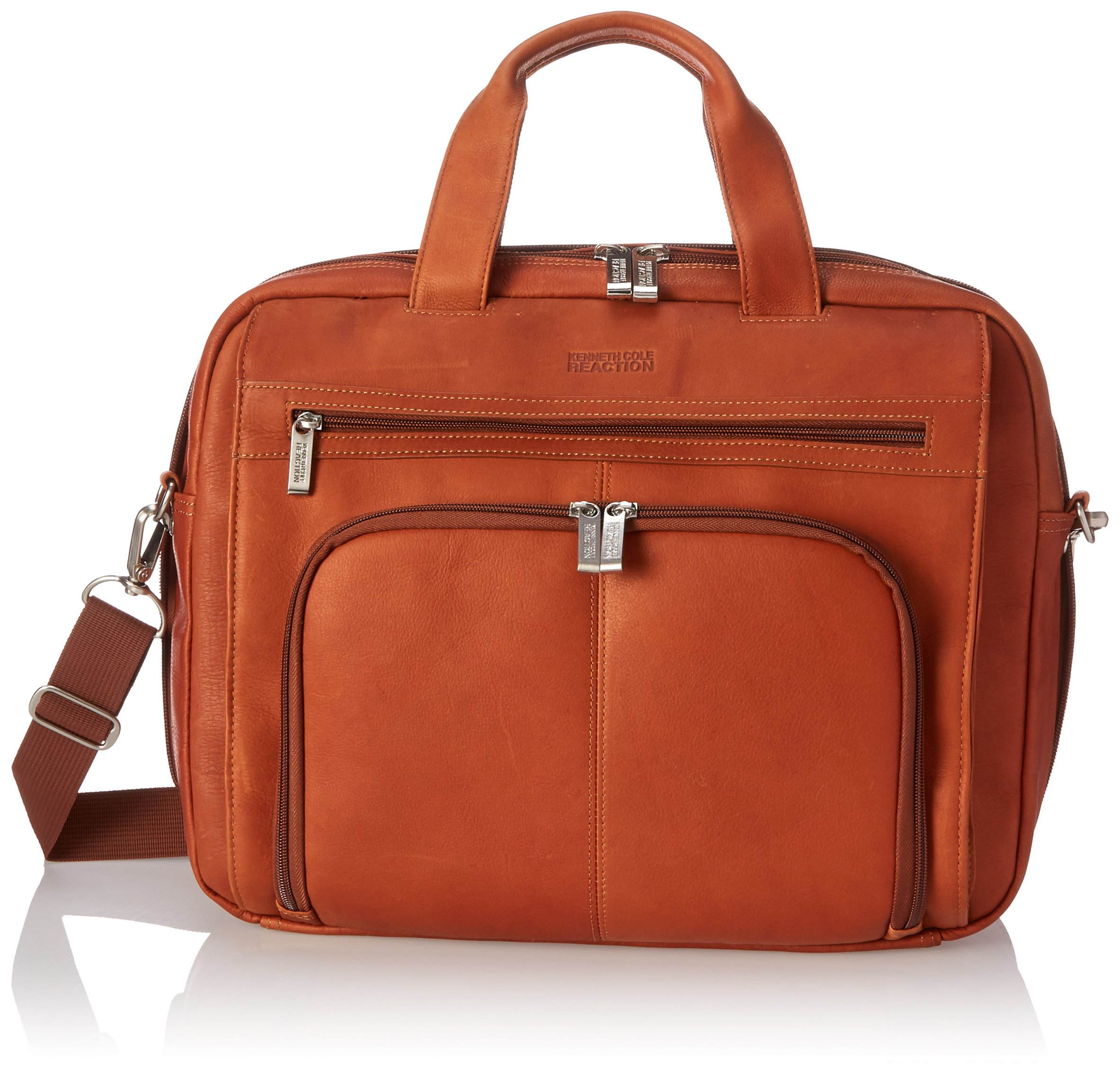 Kenneth Cole Reaction ''Out Of The Bag'' Colombian Leather Double Compartment Expandable Top Zip Portfolio/Computer Case/  Fits Most 15.4'' Laptops, Cognac, One Size