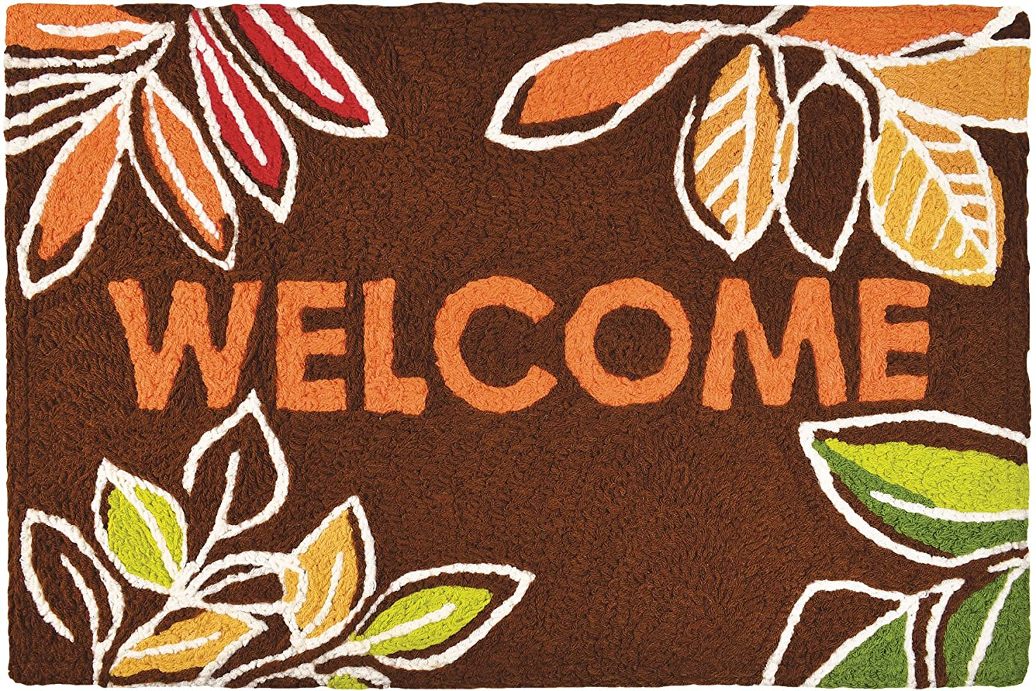 Jellybean Welcome Leaves Indoor Outdoor Autumn Floral Accent Rug Home Comfort inc