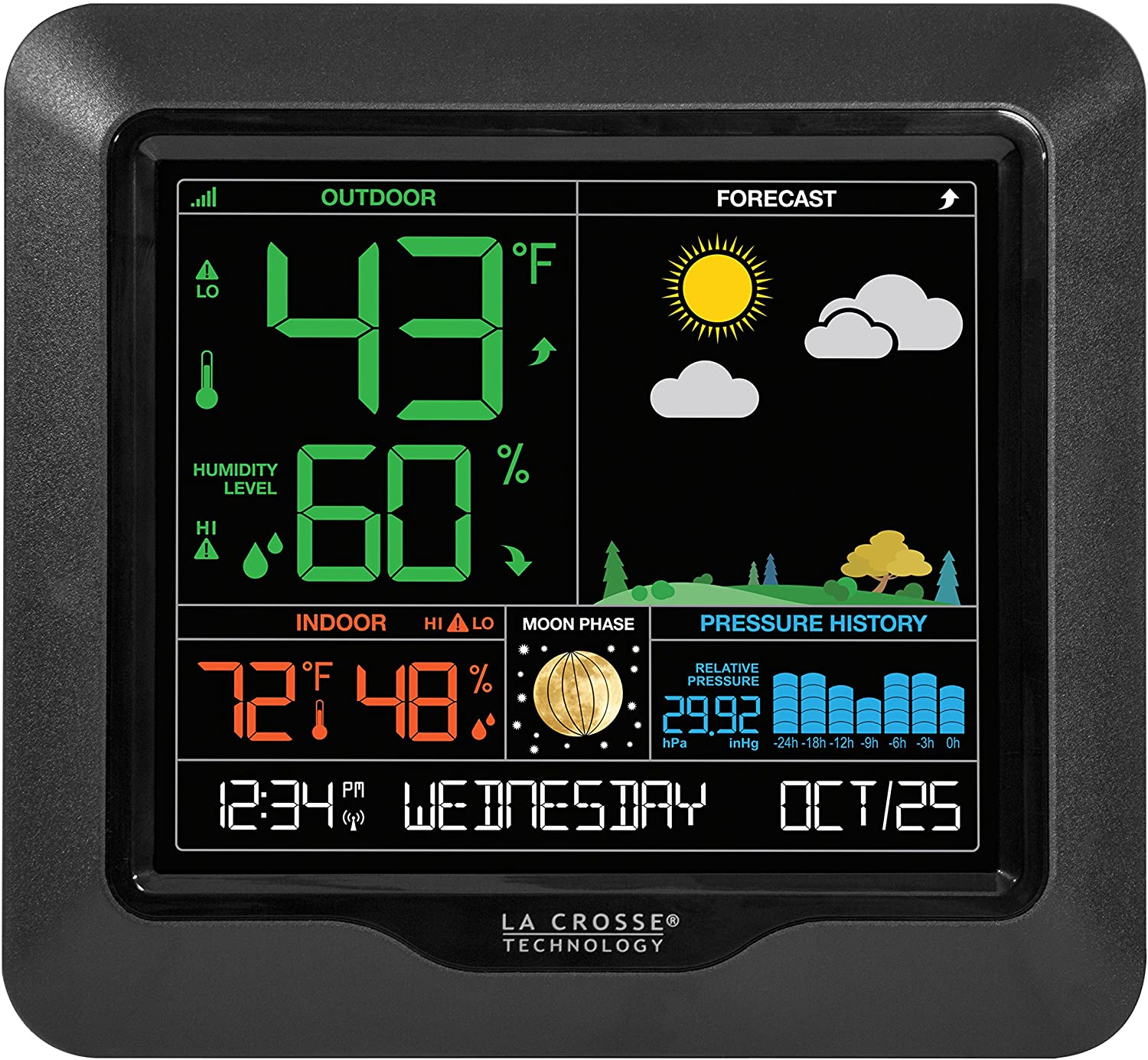 La Crosse Technology S84107 Color Forecast Station, Black