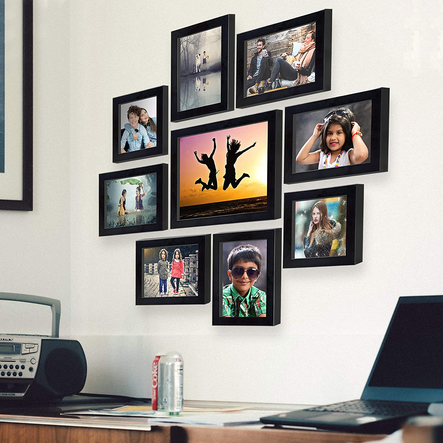 Wall photo frame collage for bedroom decor