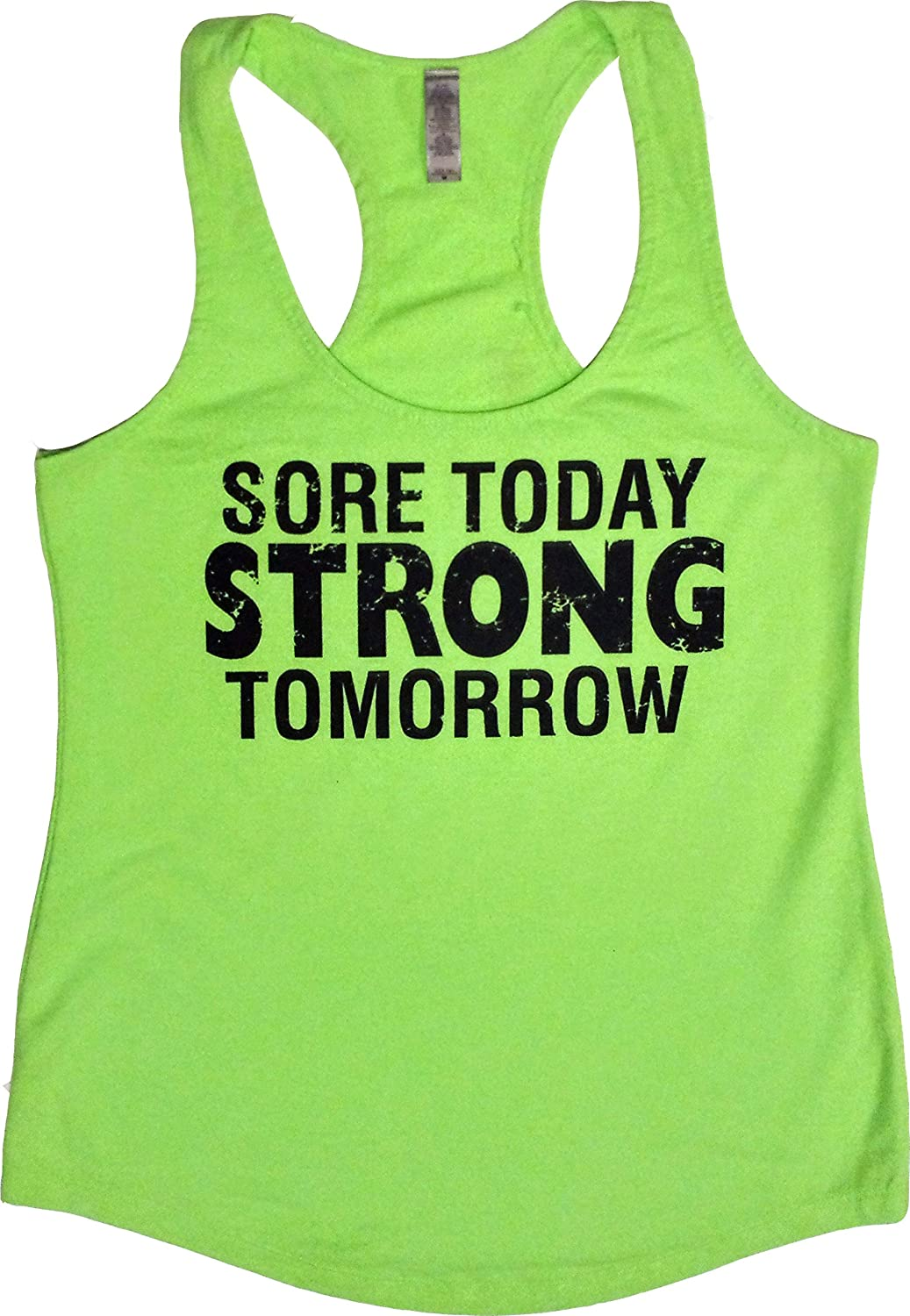 Orange Arrow Womens Workout Clothing - Sore Today Strong Tomorrow - Racerback Tank Top