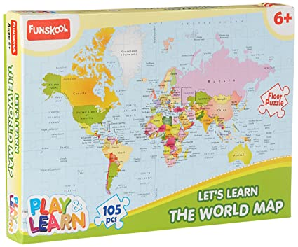 Buy funskool play learn world map puzzles online at low prices in funskool play learn world map puzzles gumiabroncs Images