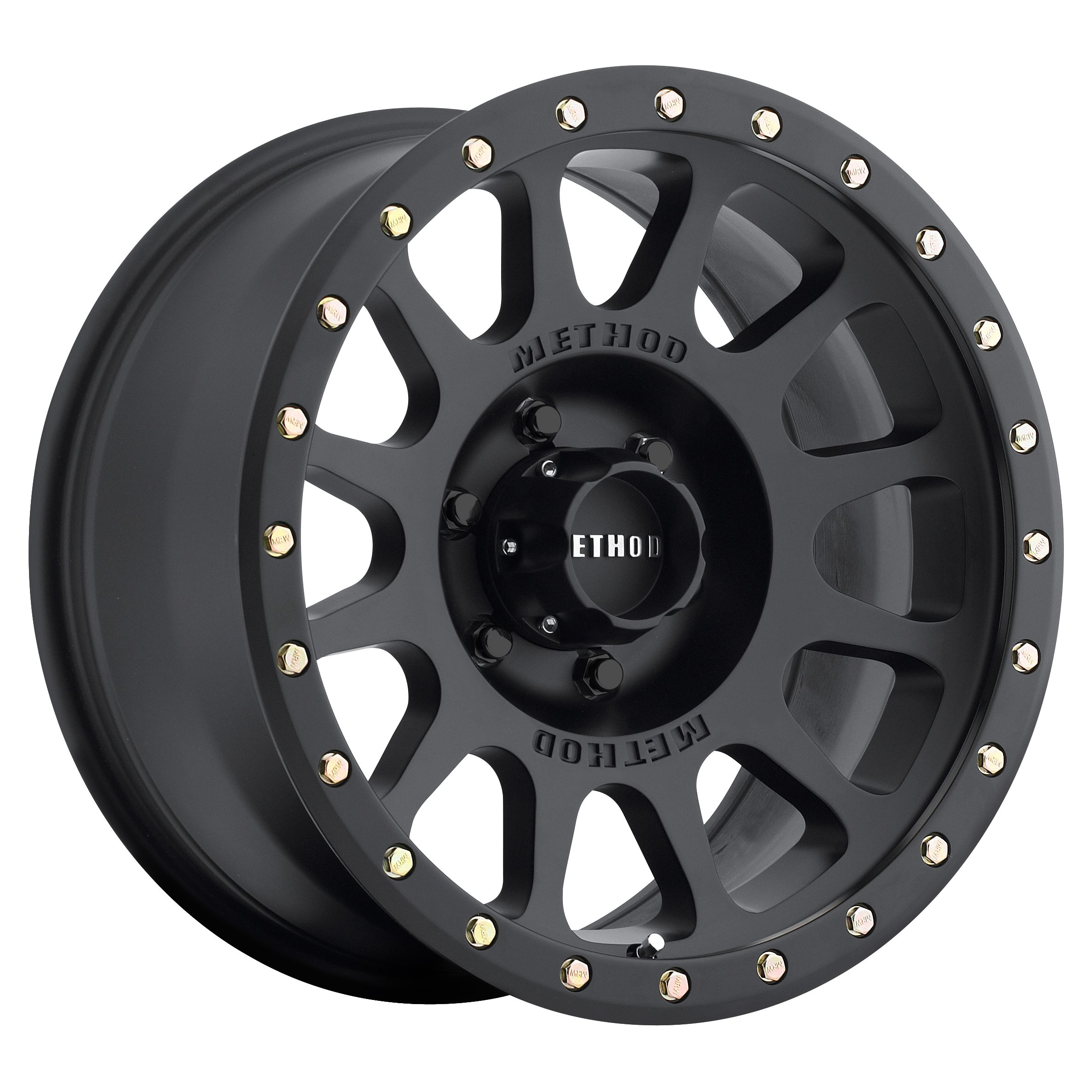 Method Race Wheels NV Matte Black Wheel with Zinc Plated Accent Bolts (20x9''/6x5.5'') 18 mm offset
