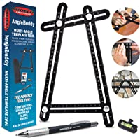 AngleBuddy Metal Template Tool w/Angle Measurement Goniometer with 6-in-1 Multi Tool Pen, Bubble Level, and Carrying Case