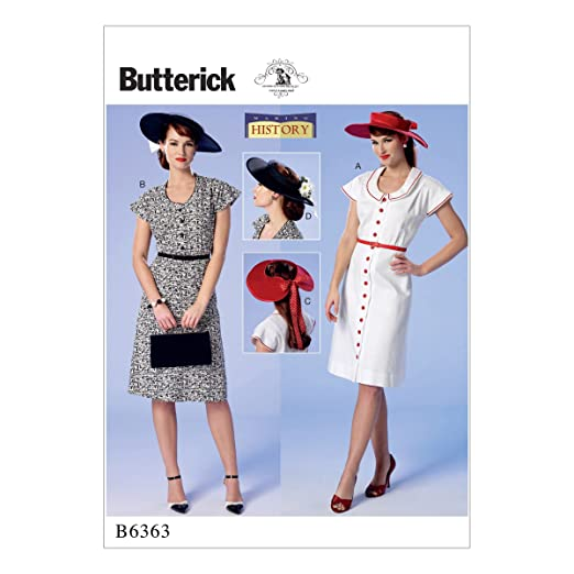 1940s Sewing Patterns – Dresses, Overalls, Lingerie etc BUTTERICK B6363 MISSES DRESSES & HATS MAKING HISTORY COSTUME SEWING PATTERN $14.75 AT vintagedancer.com
