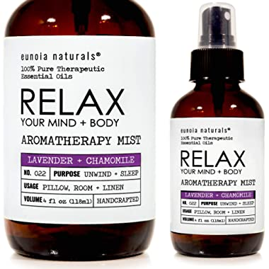 eunoia naturals Relax- Lavender + Chamomile Essential Oil Spray, Lavender Sleep Spray, Soothing + Calming Mist, Free 30 Minute Sleep Audio Included, Lavender Pillow and Linen Spray, 4oz Glass Bottle