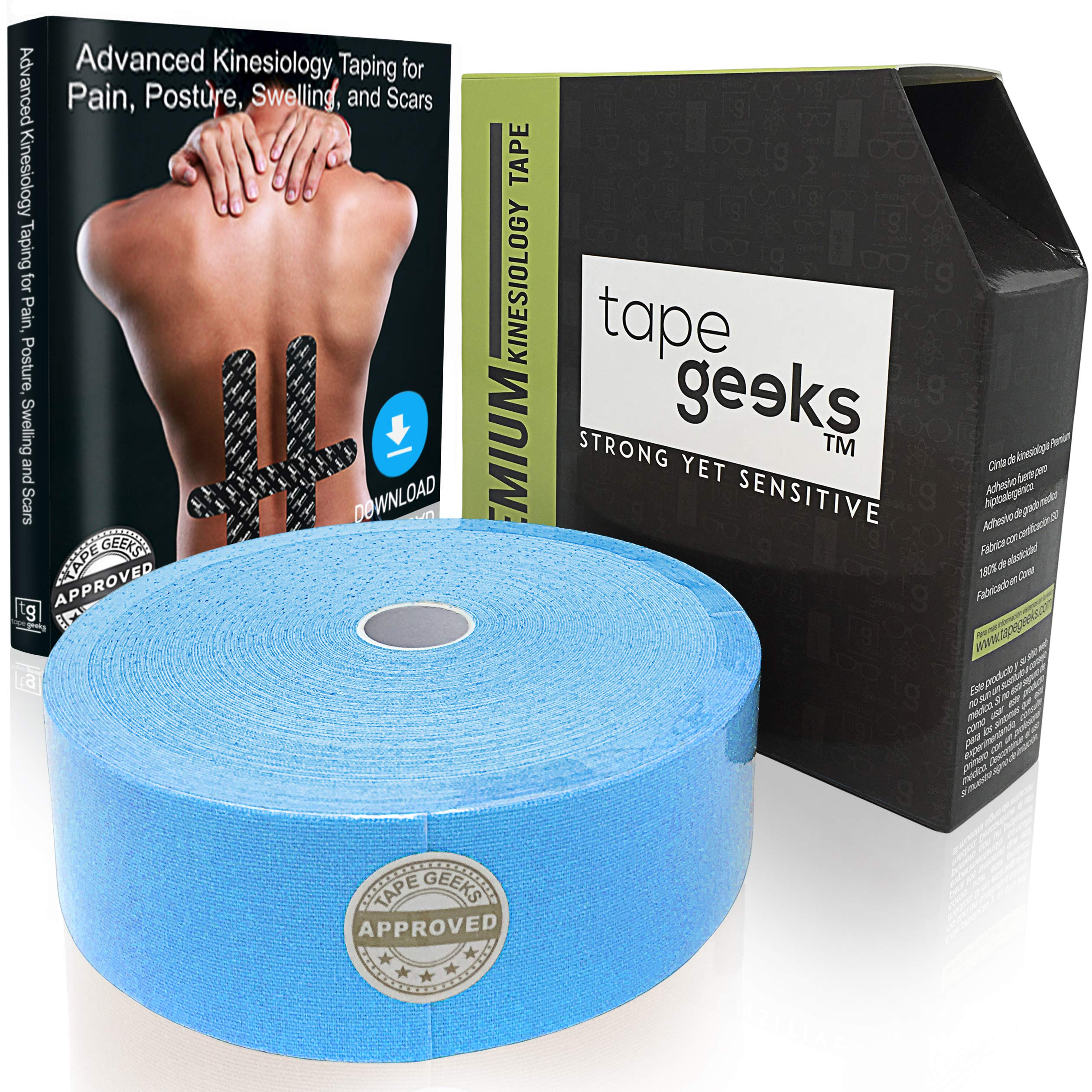 TapeGeeks Kinesiology Sports Tape (Blue, Bulk 2 inch x 115 feet)