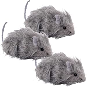 """Halloween Haunters 3 Scary Realistic Grey Hairy Rats Prop Decorations - 10"""" Head to Tail, Gray Fury Creepy Spooky Beady Black Eye Rodents - Haunted House, Graveyard, Entryway Party Display - Fun Prank"""