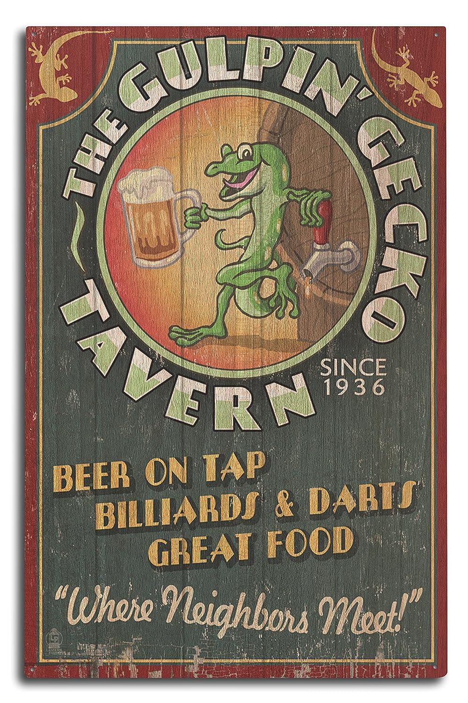 Gecko Tavern – Vintage Sign 10 x 15 Wood Sign LANT-55467-10x15W B07368RGM8 10 x 15 Wood Sign
