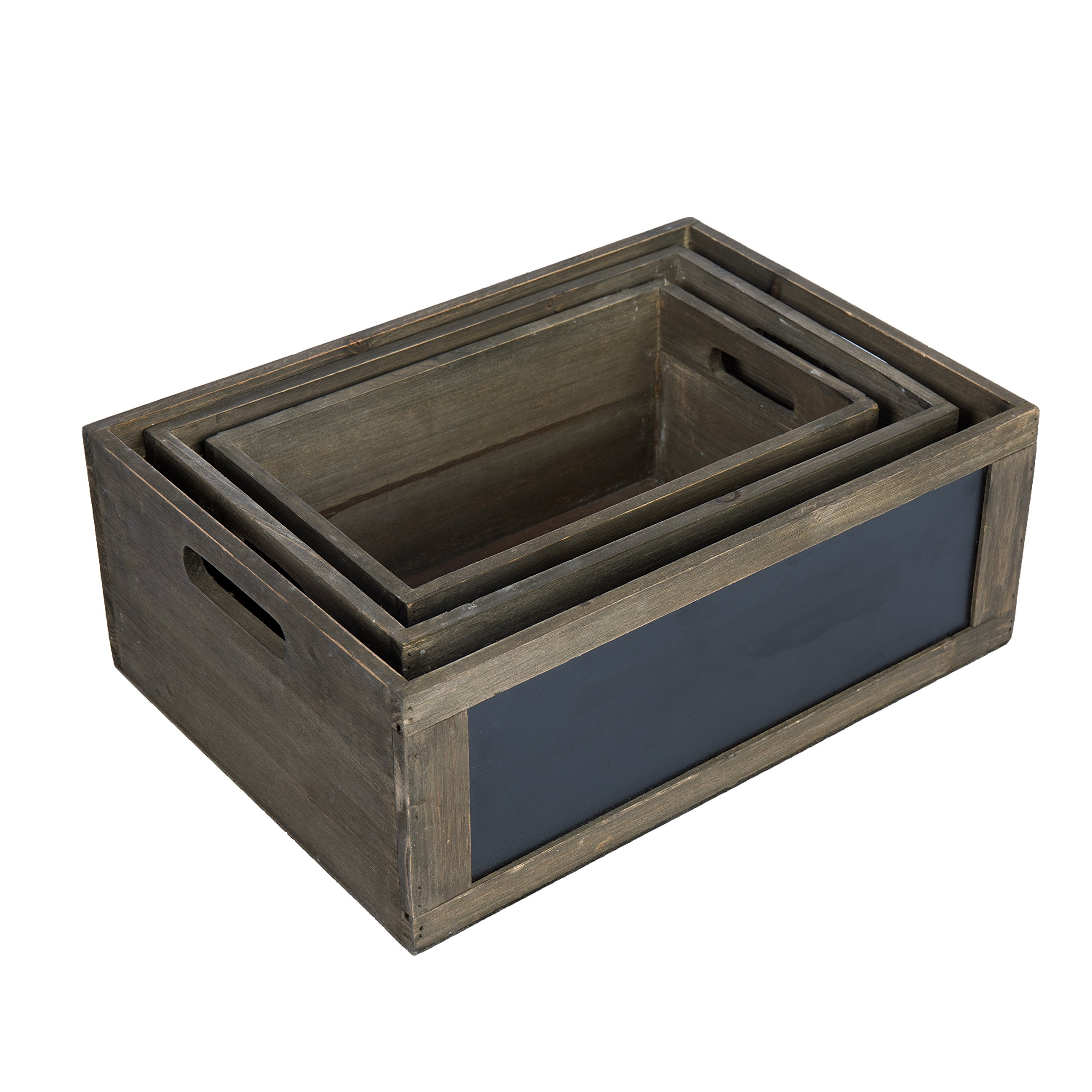 MyGift Rustic Brown Wood Nesting Storage Crates with Chalkboard Front Panel and Cutout Handles, Set of 3 by MyGift (Image #5)