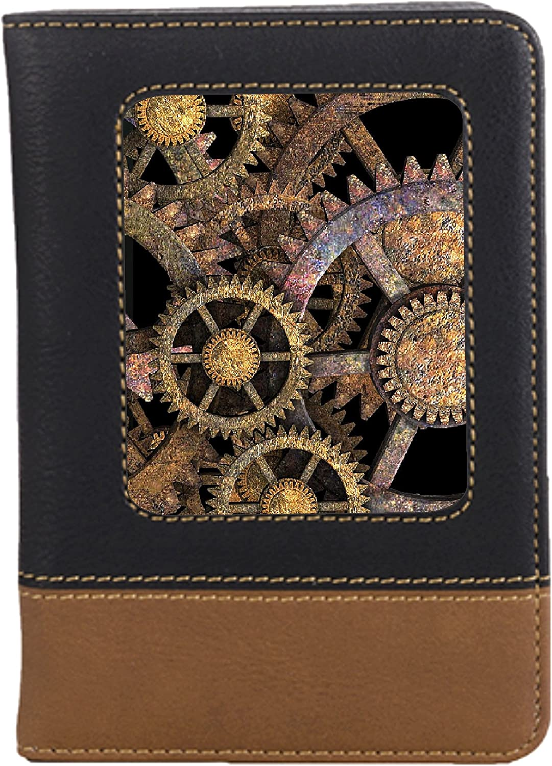 Mechanical Steampunk Leatherette Passport Wallet Style Case Cover For Travel