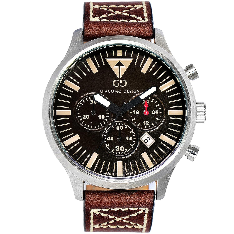 Giacomo Design GD03001 Herren-Armbanduhr Lederband Datum Chronograph