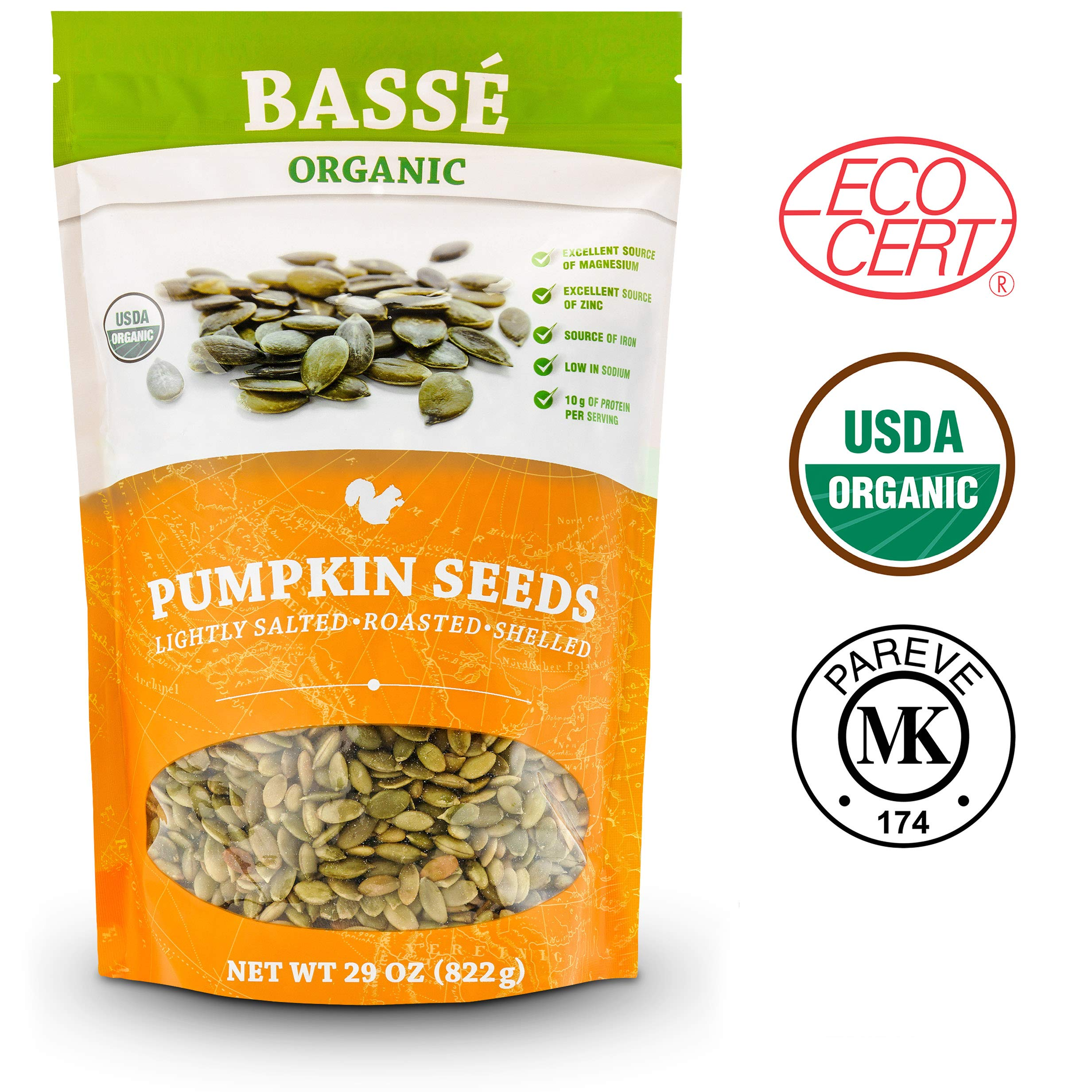 BASSE ORGANIC PUMPKIN SEEDS LIGHTLY SALTED. ROASTED, SHELLED 29 Oz (822g) by Basse Nuts