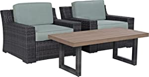 Crosley Furniture KO70099BR Beaufort 3-Piece Outdoor Wicker Seating Set, Brown with Mist Cushions