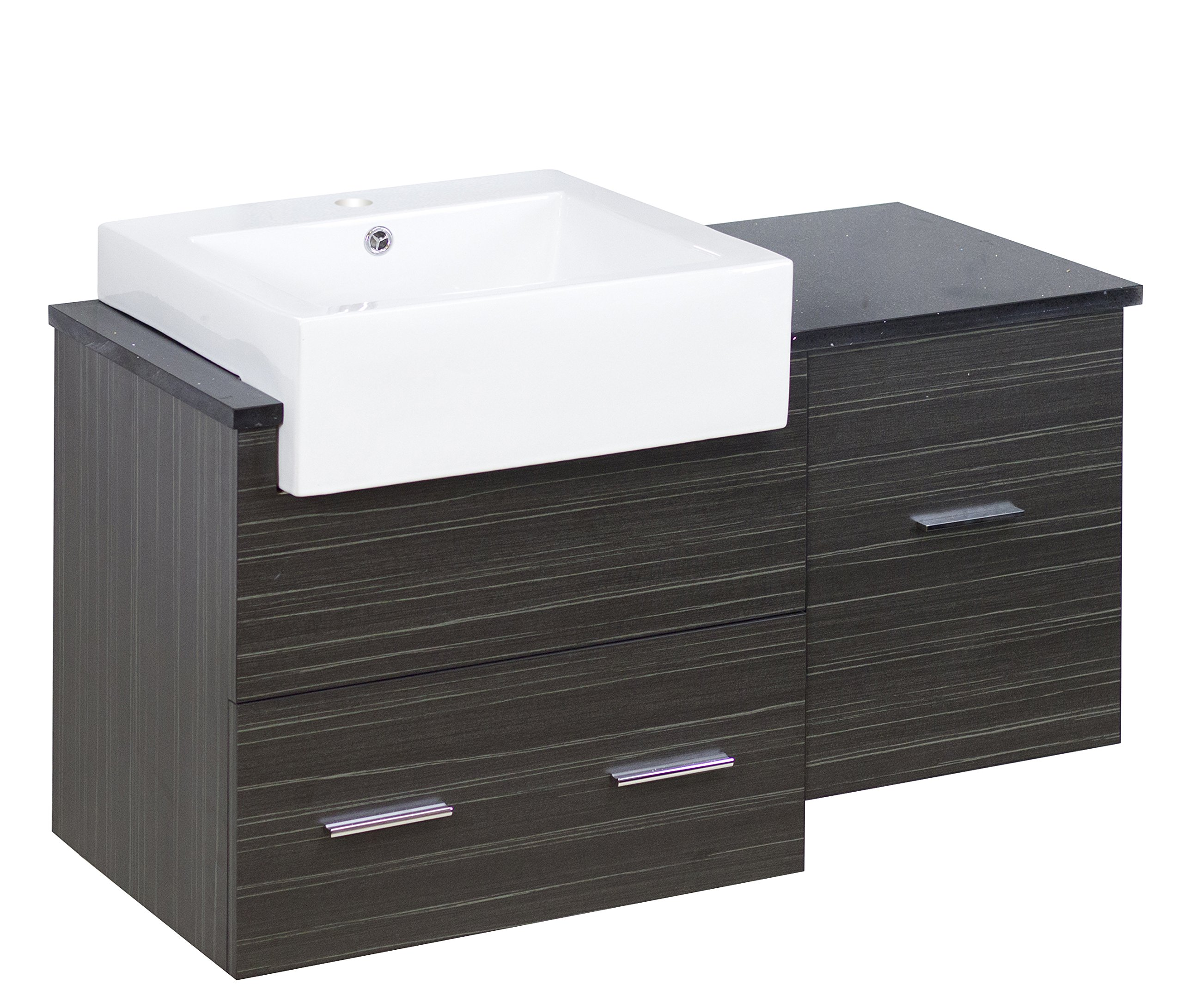 American Imaginations AI-888-1594 Plywood-Melamine Vanity Set In Dawn Grey - Machine cut and taped for smooth chip-free edges. Constructed with solid plywood and decorative melamine. Two large drawers with soft-close slides and matching modern Chrome handles Black Galaxy quartz top is non-porous with superior performance against staining, scratching and scorching. Faucet and accessories not included. No assembly required Solid wood Frame with no mdf or chipboard used. Quality control approved in Canada and re-inspected prior to shipping your order. Cabinet hardware is included - bathroom-vanities, bathroom-fixtures-hardware, bathroom - 91SUCcvsjhL -