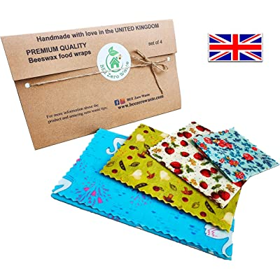 Envolturas de cera de abejas, juego de 4, colores aleatorios, BEE Zero Waste, UK HANDMADE, alternativa natural a la película adhesiva, biodegradable, tapas ecológicas sin plástico