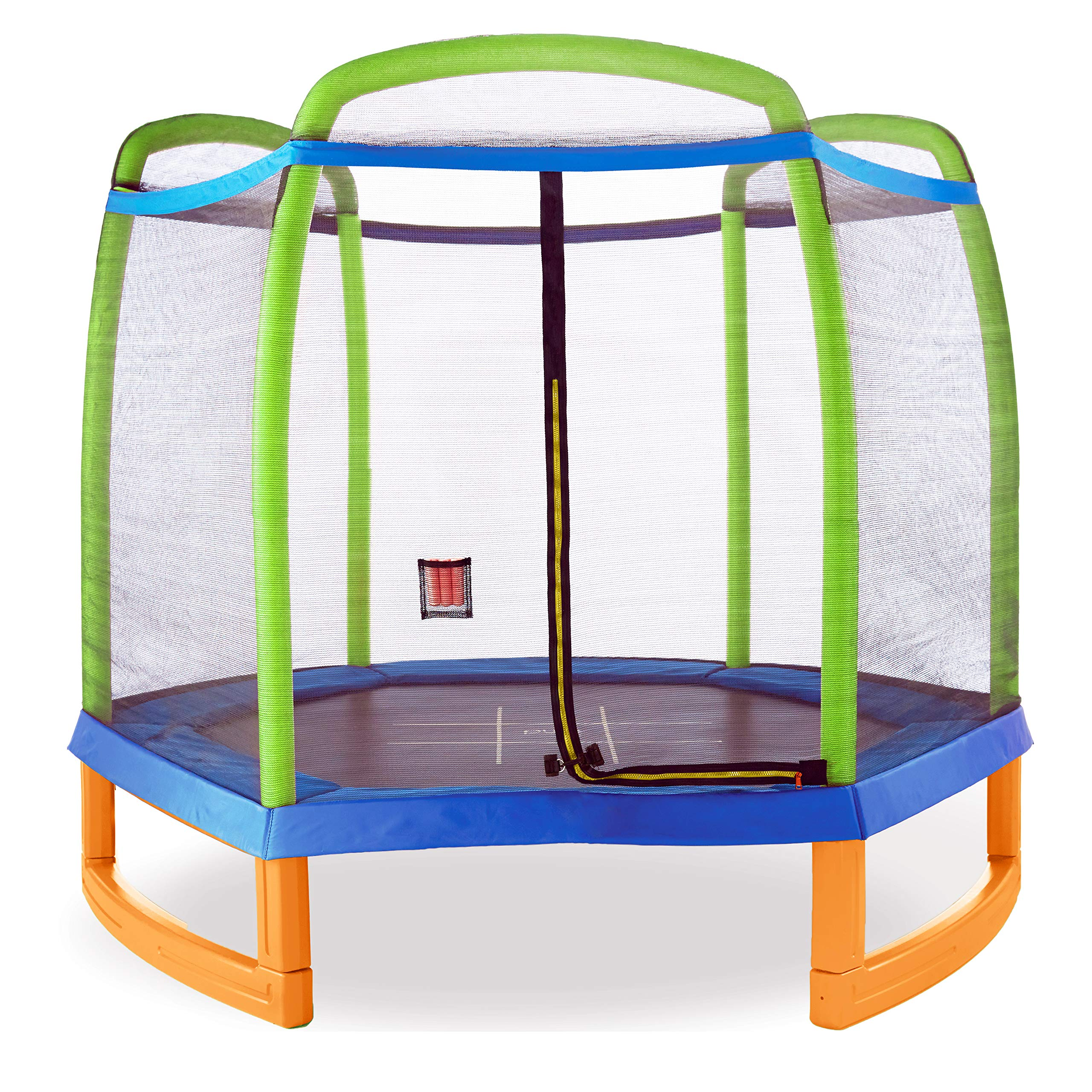Pure Fun 7ft Kids Trampoline with Safety Enclosure and Tic Tac Toe, Indoor or Outdoor, Ages 3 t o9