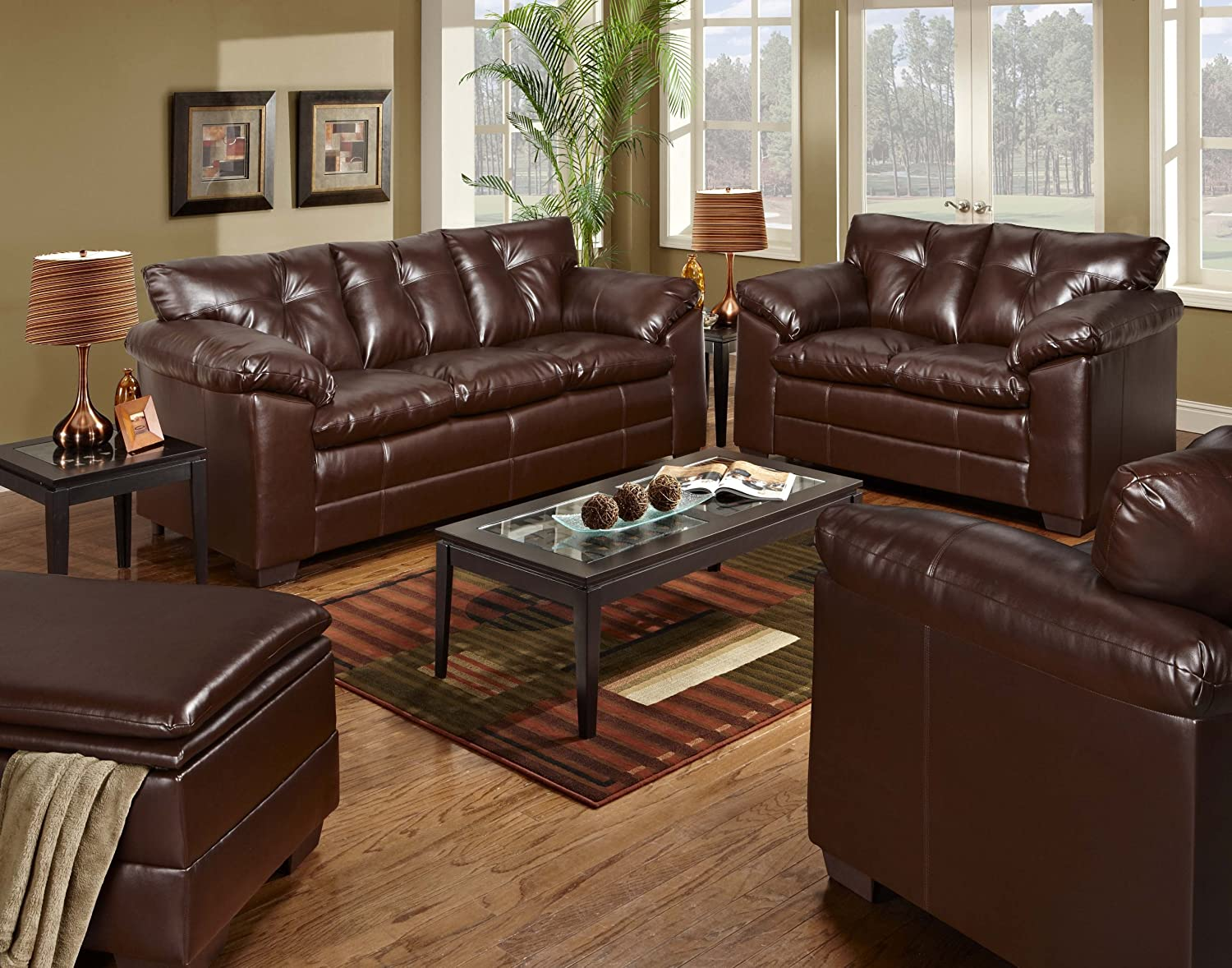 Amazon.com: Simmons Upholstery 6569 02 Sebring Coffeebean Bonded Leather  Loveseat: Kitchen U0026 Dining