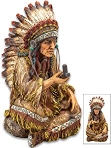 """K EXCLUSIVE Native American Chief with Peace Pipe Sculpture - Crafted of Polyresin, Hand-Painted, Exceptional Detail - Dimensions 7 3/4"""" x 3 3/4"""" x 5 1/4"""""""