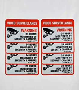 """HAYLINS Security Camera System Sign Reflective Vinyl Decal Sticker Pack of 8 Weather Resistant 2.5""""X3.5"""" Video Surveillance Signs for Outdoor USE UV Protected Stickers for Home OR Business Windows"""
