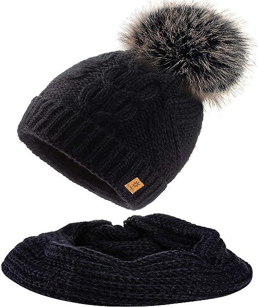 Mfaz Morefaz Ltd Ensemble Bonnet Et écharpe Femme Laine Mohair Bonnet Dhiver Wool Tricotée Polaire Pom Pom