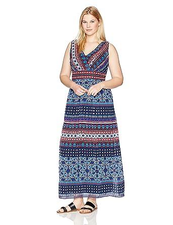 06ec8b2fe3783 London Times Women s Plus Size Sleeveless V Neck Chiffon Maxi Dress ...