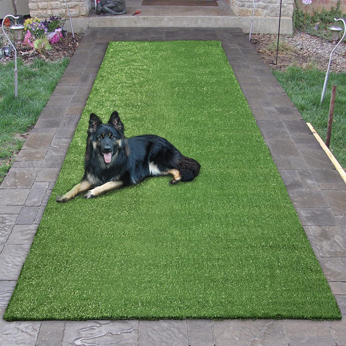 """Sweethome Meadowland Collection Indoor and Outdoor Green Artificial Grass Turf Runner Rug 27"""" X 910"""" Green Artificial Grass/Pet mat with Rubber Backed"""