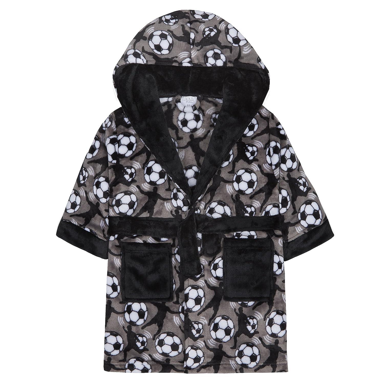 Kinder Jungen Kinder Umkleide Robe Abendkleid Flanell Fleece mit Kapuze Nachtwäsche Fußball MiniKidz