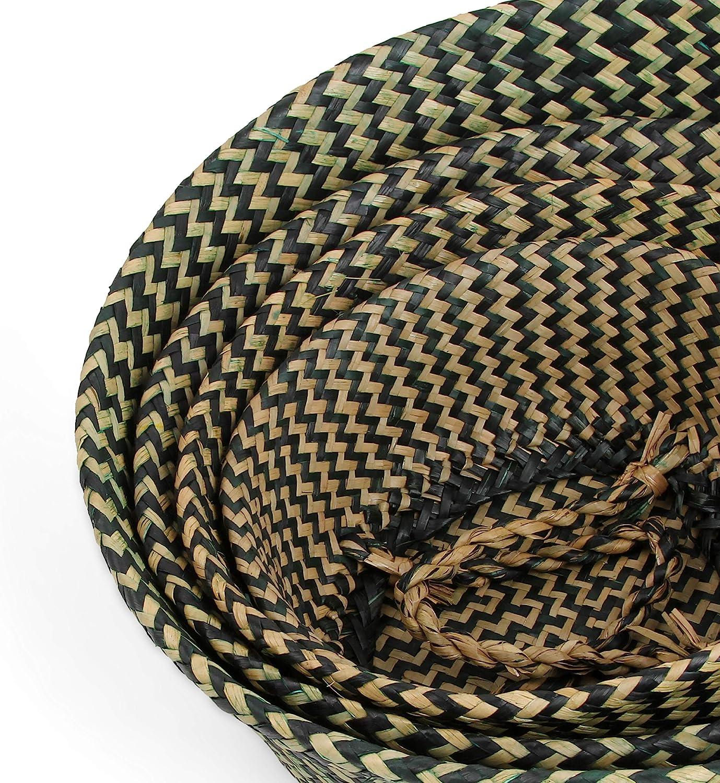 indoor Storage Handmade Plant tessitura basket Small pieghevole in vimini Plant bacino black strips