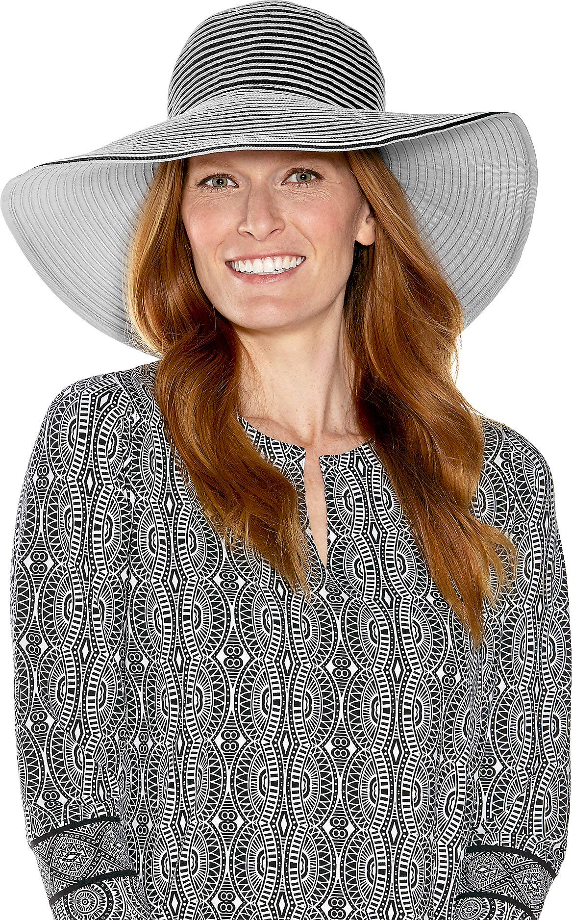 Coolibar UPF 50+ Women's Compact in A SNAP! Ginger Ribbon Hat - Sun Protective (One Size- Black/White w/Snap)