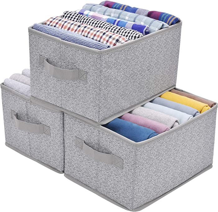 GRANNY SAYS Storage Bin for Shelves, Fabric Closet Organizer Shelf Cube Box with Handle Home Office Storage Baskets, Medium, Gray, 3-Pack