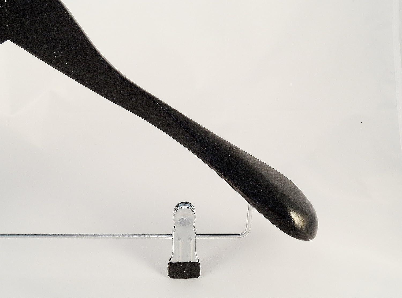 NEU breit 50cm 5 St/ück Holzb/ügel f/ür Anz/üge und Zweiteiler mit Clip schwarz
