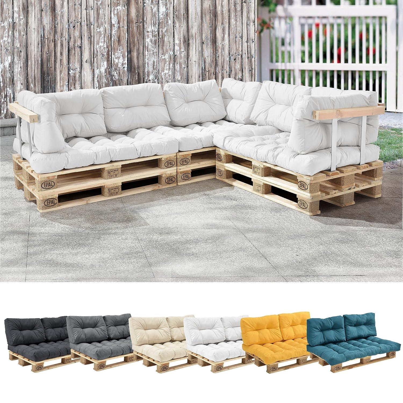 [en.casa] 1x Cuscino sedile per divano paletta euro [bianco] cuscini per palette supporto In/Outdoor mobili imbottiti [en.casa]®