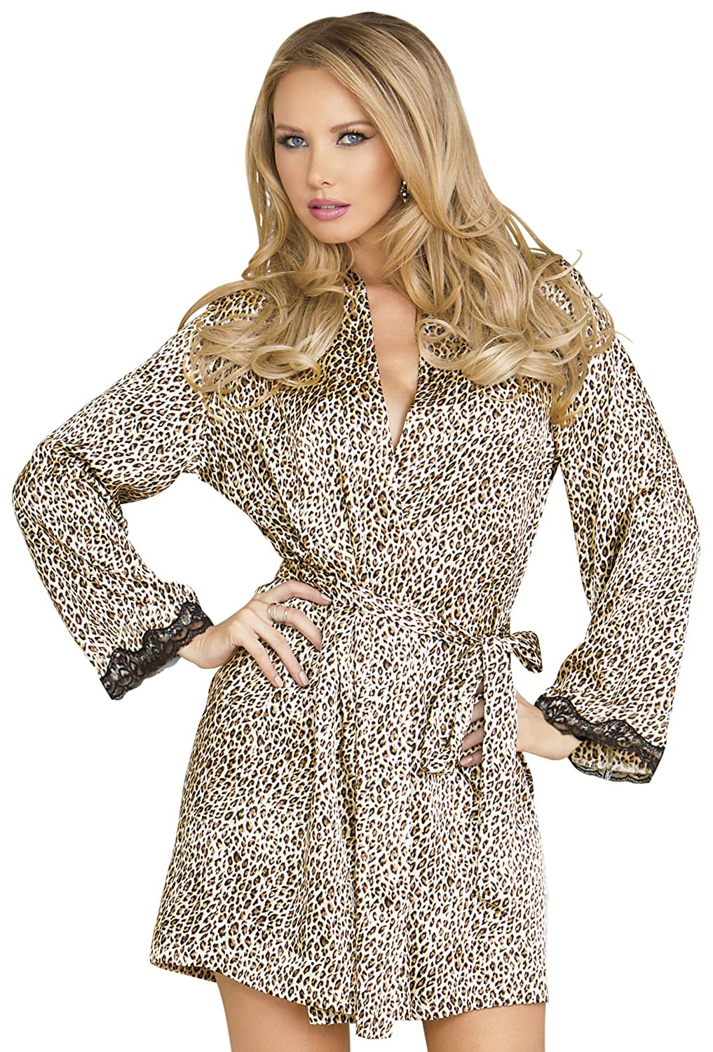 iCollection Lingerie womens Long Sleeve Satin Robe iCollection Exotic IA 7830