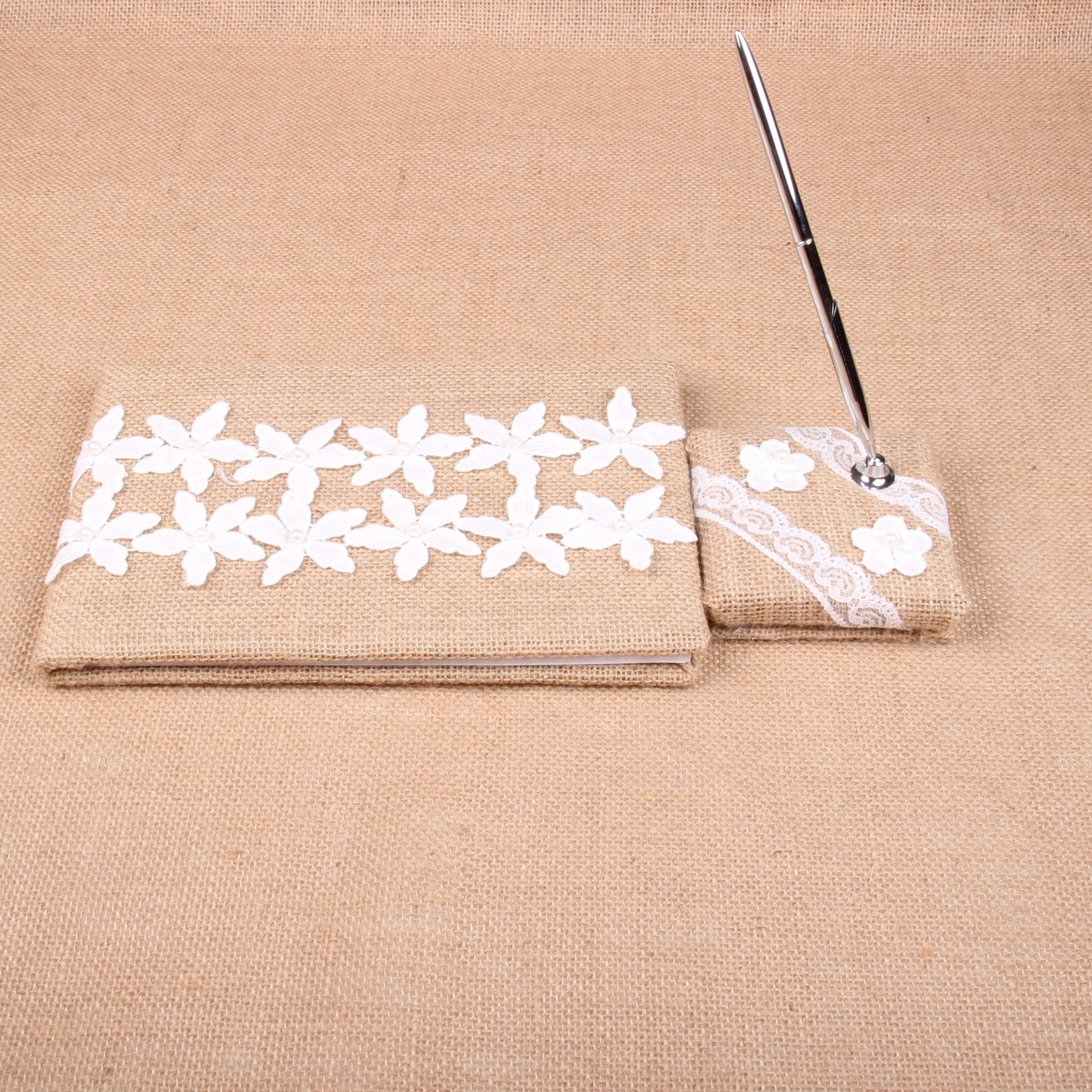 Burlap Wedding Guest Book and Pen Stand Set White Lace Decoration (style1)