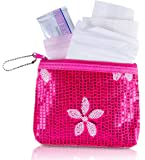 Menstruation Kit - First Period Kit To-go! (Period Starter Kit with Organic & Biodegradable Pads) (Pink)