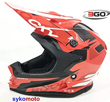 Casco 3GO infantil para motocross y quads, color rojo