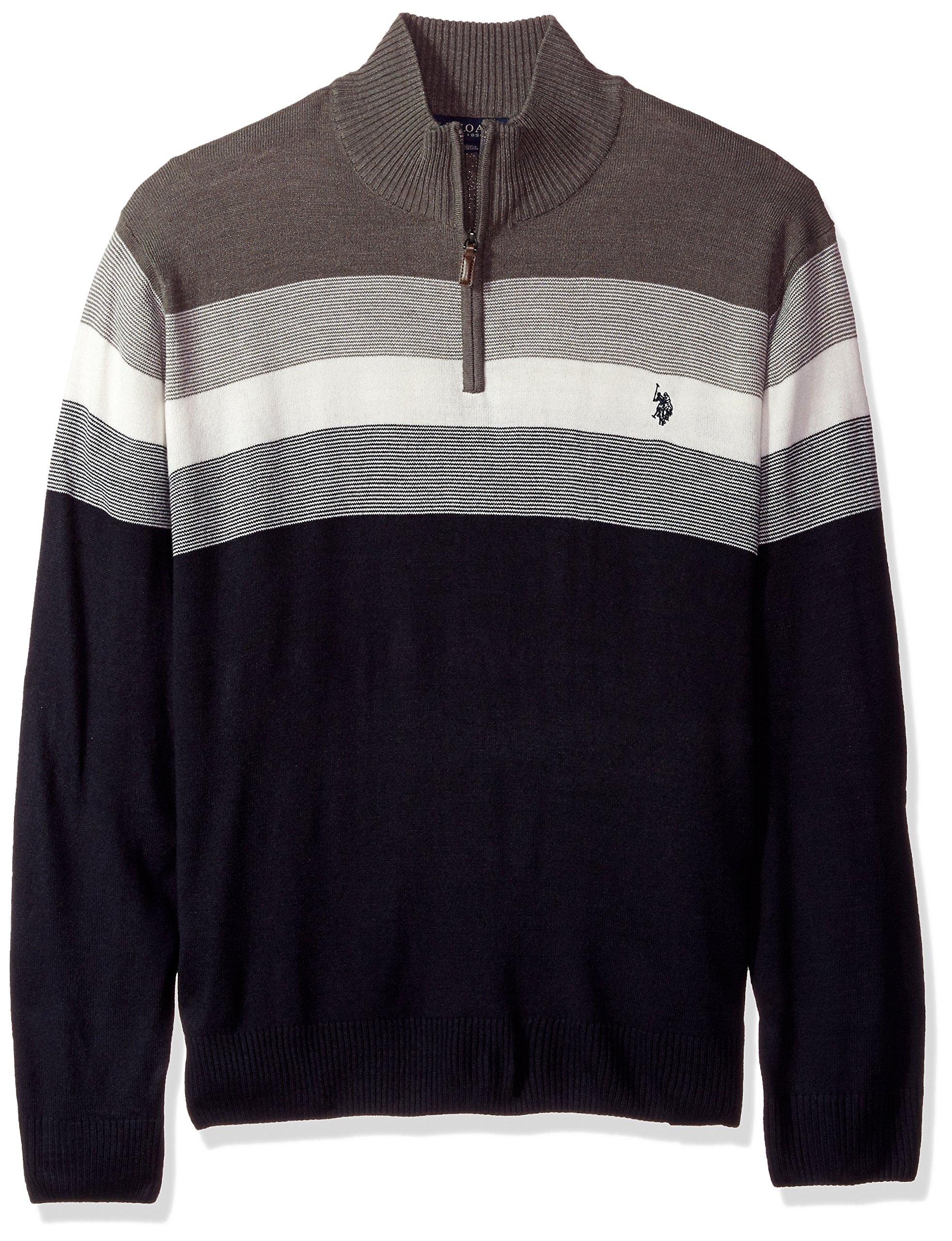 U.S. Polo Assn. Men's Tall Stripe Color Block V-Neck Sweater, Navy, 4X Big