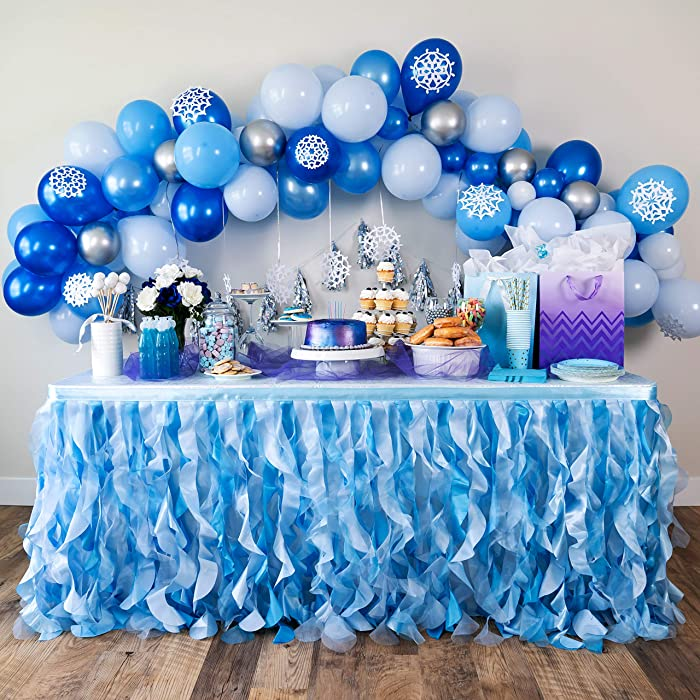 Bluekate Blue Tutu Table Skirt 9ft with Double Layer Organza Willows for Ocean Under the Sea Decorations, 1st Baby Boy Birthday Décor, Elephant Baby Shower Décor, Gender Reveal or Bridal Shower