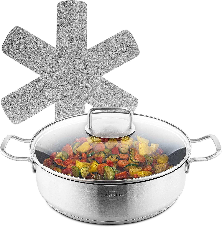 SILBERTHAL Cacerola baja induccion | Cazuela baja 28 cm | Cacerola antiadherente de cocina con tapa de cristal | Acero inoxidable