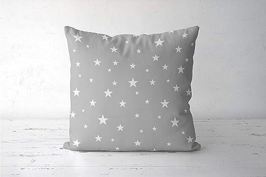 Zachrtroo - Almohada de Estrellas Gris monocromática para ...